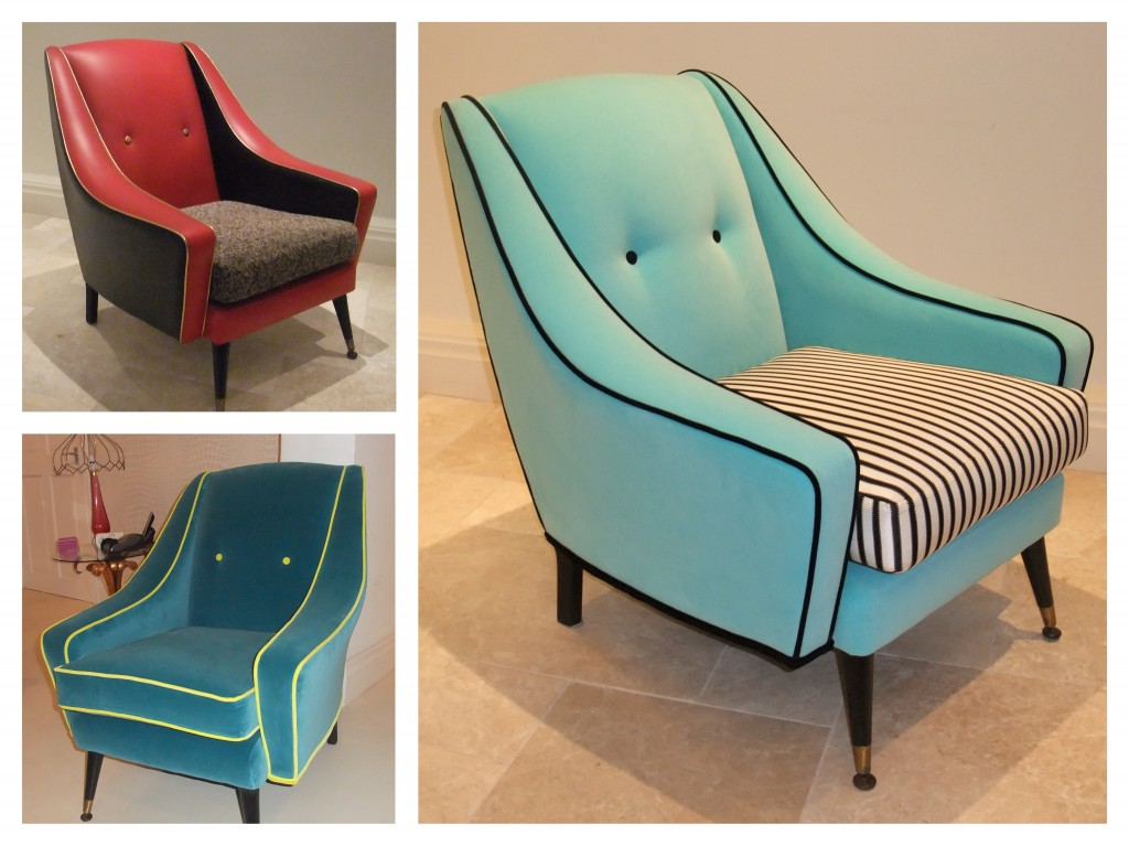 Clockwise from top left: 1. one of a pair of 1950's chair, looking a bit of a bugger 2. one designed by me for a shop window 3. one designed by a customer for their home