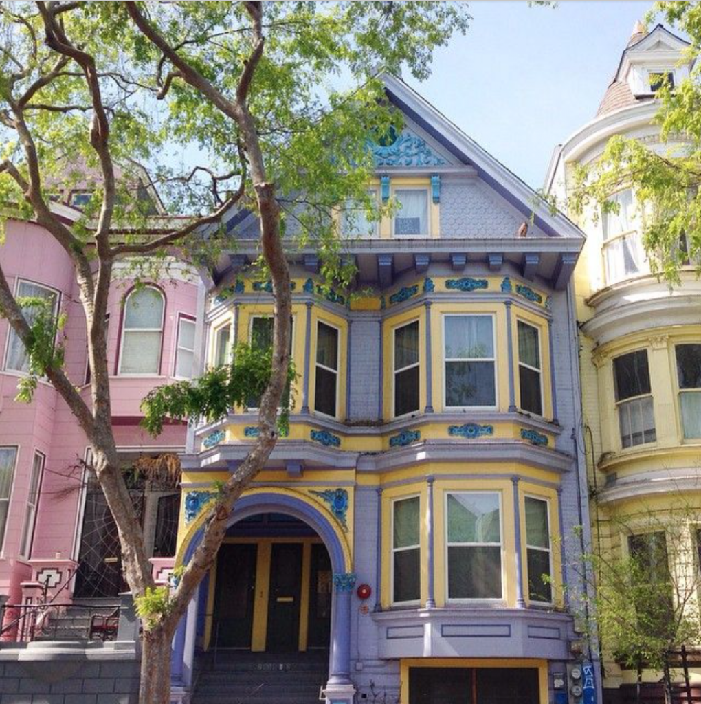 San Francisco purple and yellow house