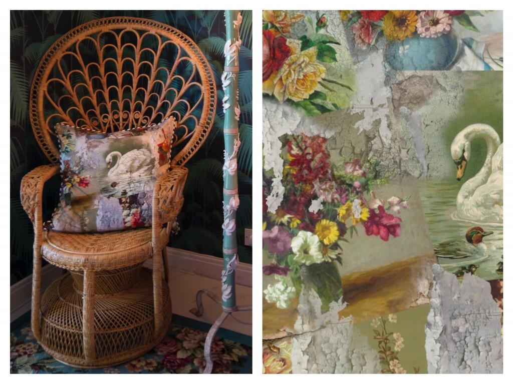 Peacock chair with Emily Humphrey's cushion