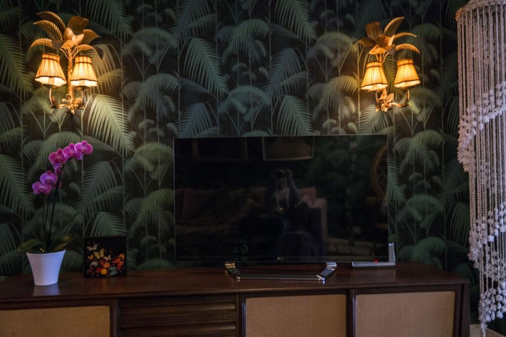 Pair of vintage palm tree wall lights