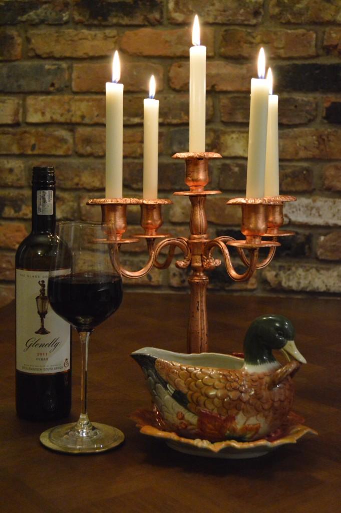 Christmas copper candelabra