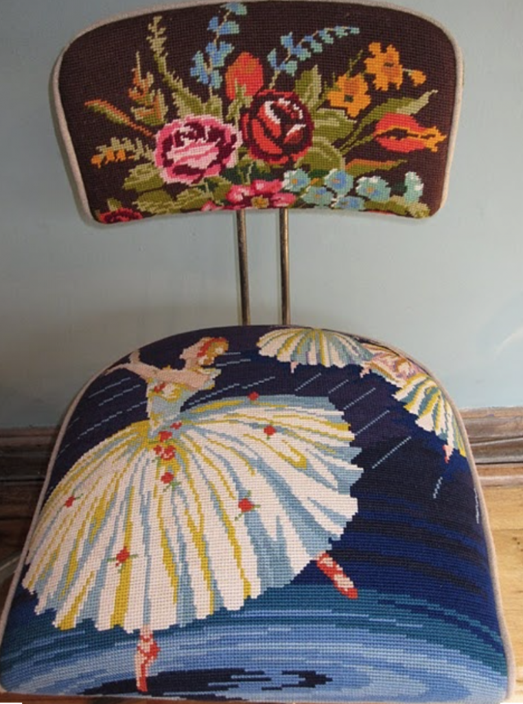 Kitsch needlepoint chair