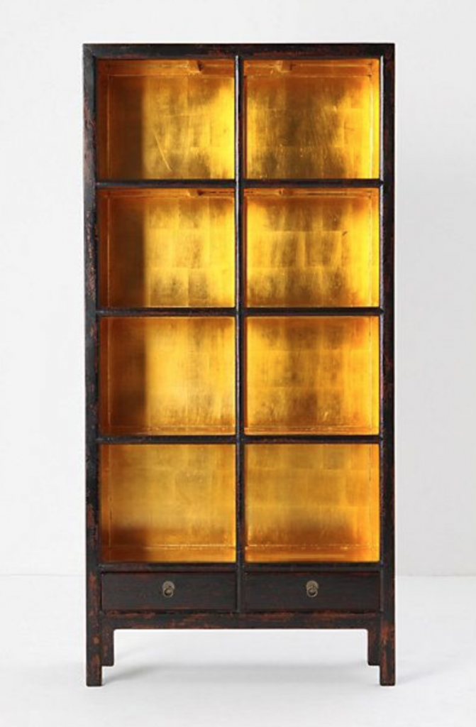 gold leaf bookcase