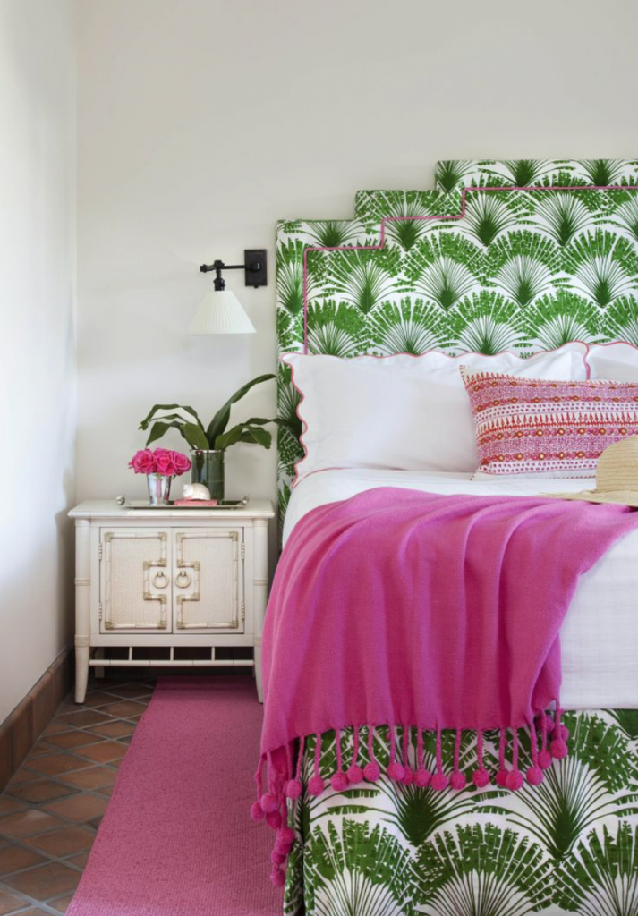 green pink bedroom