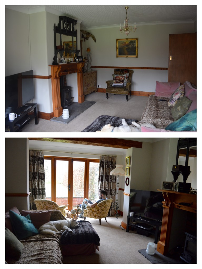 The living room as it is at the moment, with randomly plonked stuff we already own, and the landlady's curtains