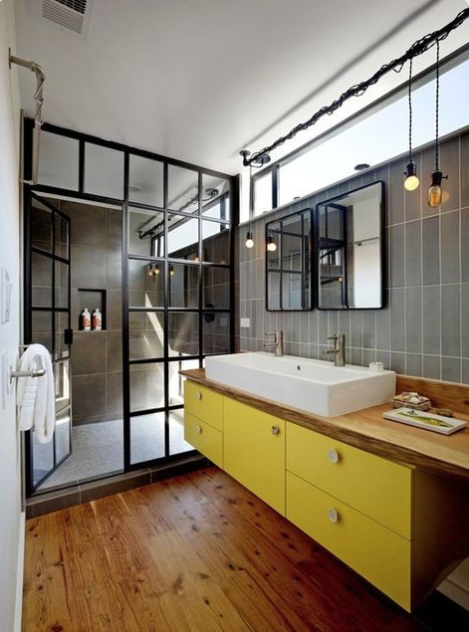 Yellow bathroom cabinet