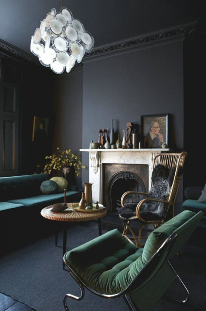 painted black ceiling and walls