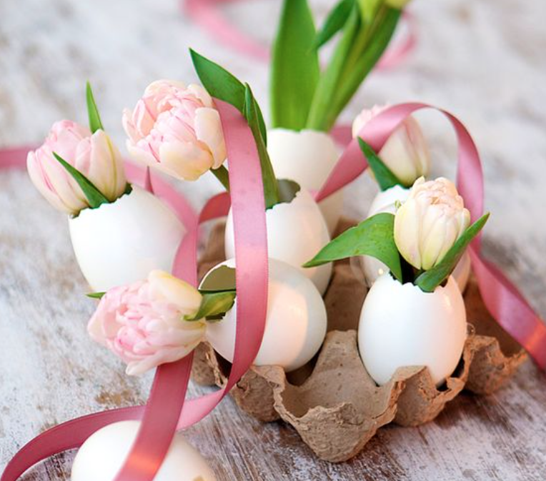 Tulips displayed in empty eggshells