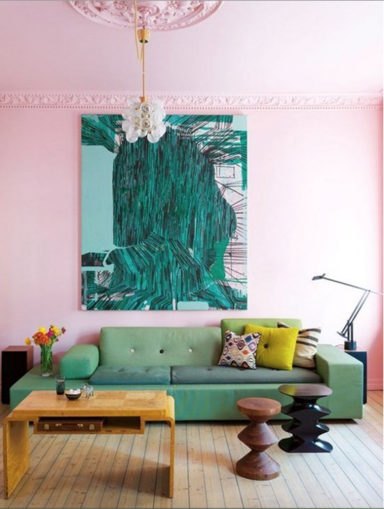 Painted pink ceiling and walls