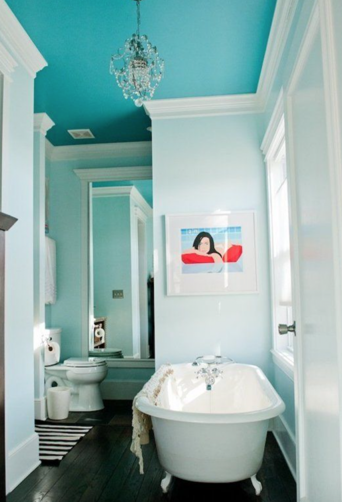 Painted turquoise ceiling