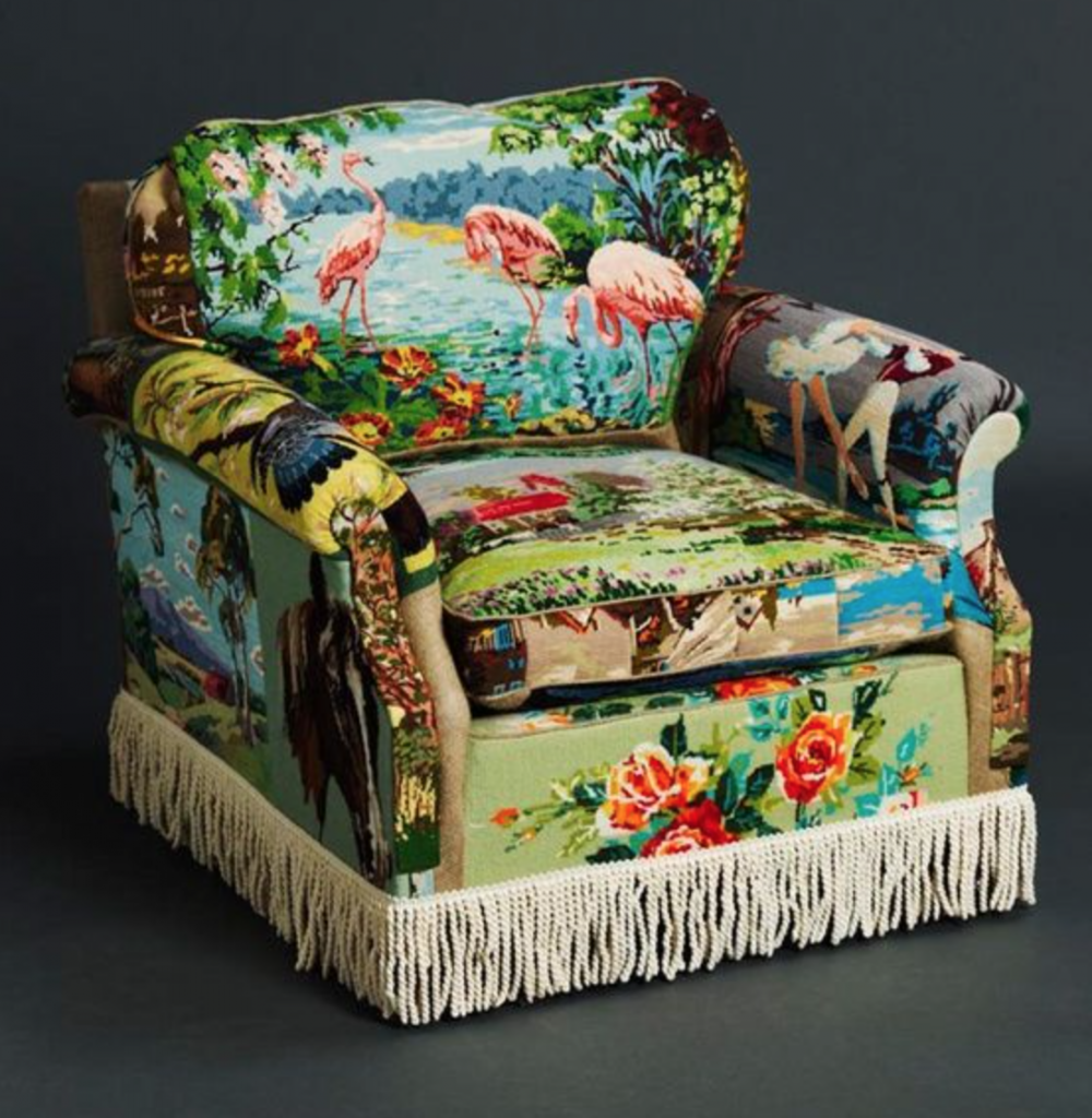 The chair that inspired me to purchase some vintage cross-stitch kits
