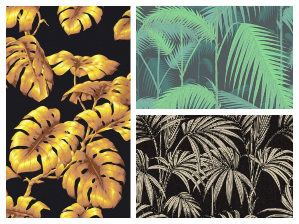Left, House of Hackney's Tarovine Top, Cole & Son's Jungle Palm Bottom, Graham & Brown's Honolulu