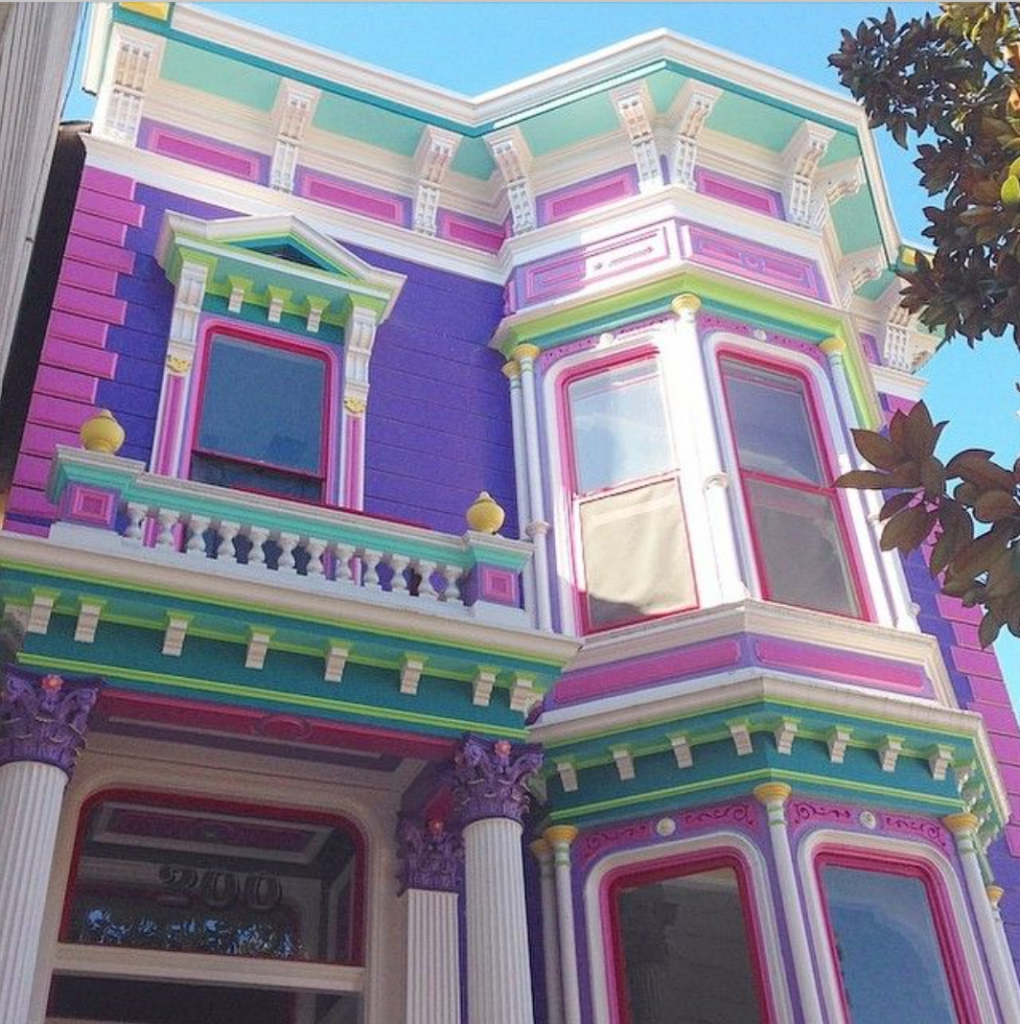 San Francisco purple, pink, aqua and lime house