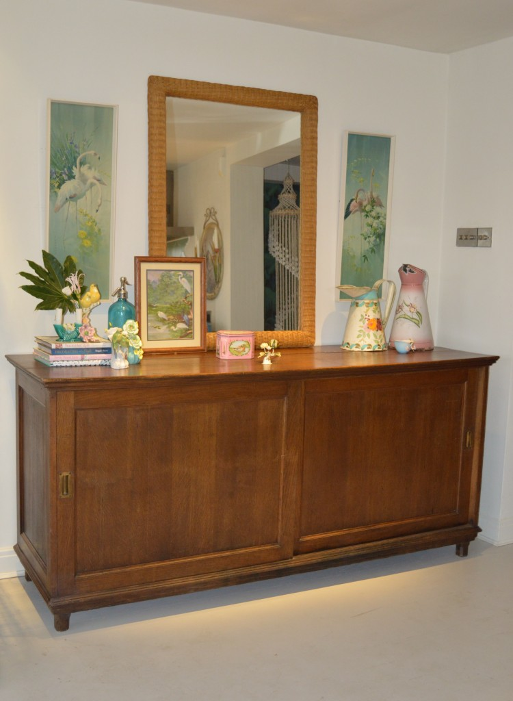 Vintage sideboard with Vernon Ward flamingo prints