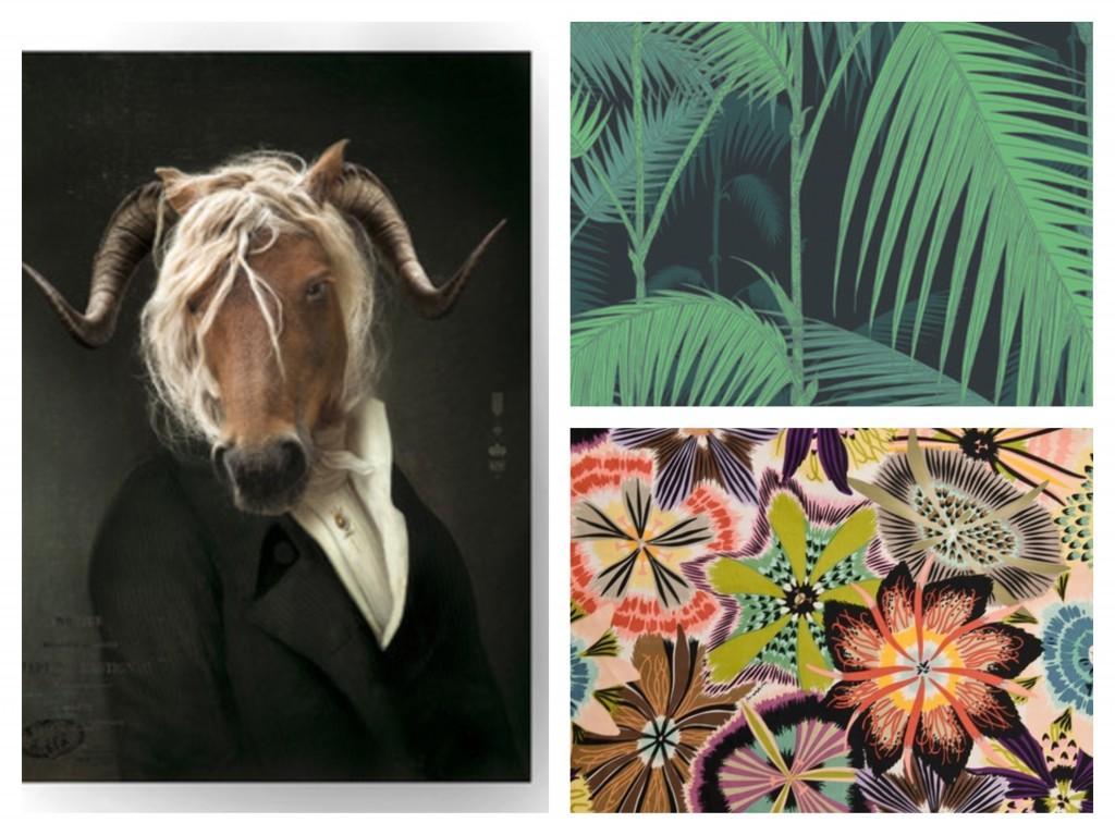 Ibride's horse book shelf, Cole & Son's Jungle wallpaper and Missoni's Passiflora fabric, all found at Amara