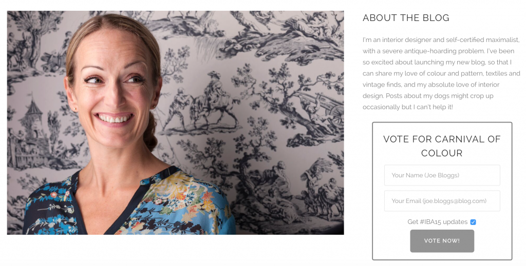 My voting screen on the Interior Blog Awards website #IBA15