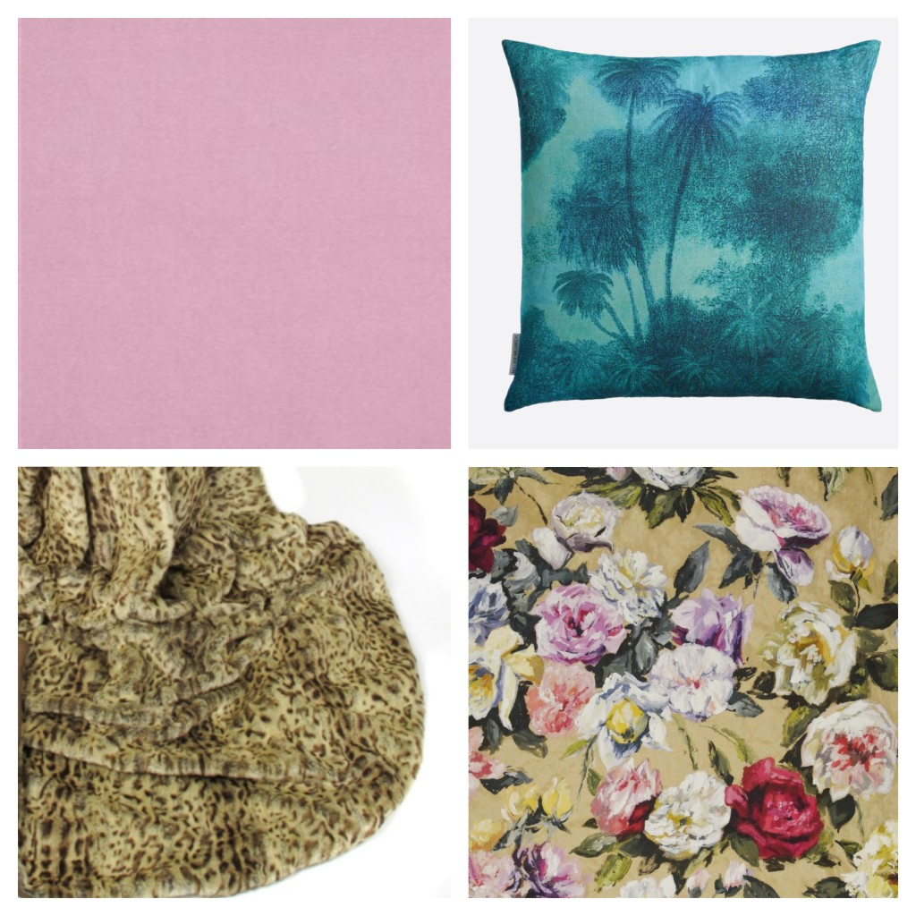 Clockwise from top left: Designers Guild Cassia velvet in blossom; Matthew Williamson's Coco cushion; Designers Guild Octavia Linen used for a scatter cushion; Helen Moore faux leopard throw.