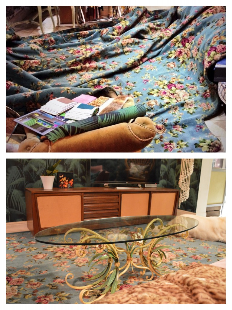Top: the carpet before it was cleaned and cut to size Bottom: the rug in place, and the retro sideboard without its legs