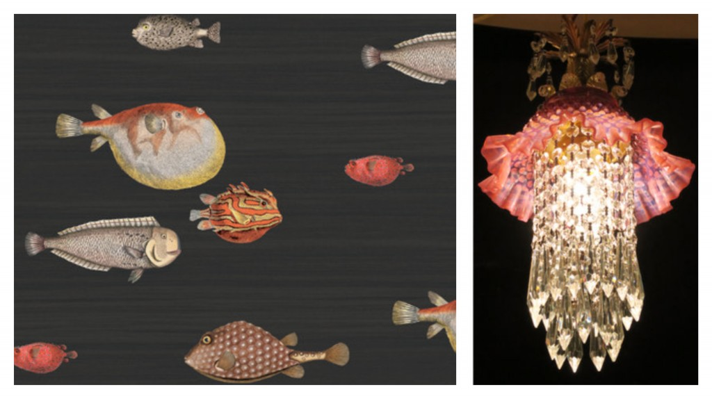 Cole & Son's Acquario wallpaper. This is so going in my next bathroom. With this jellyfish style antique light