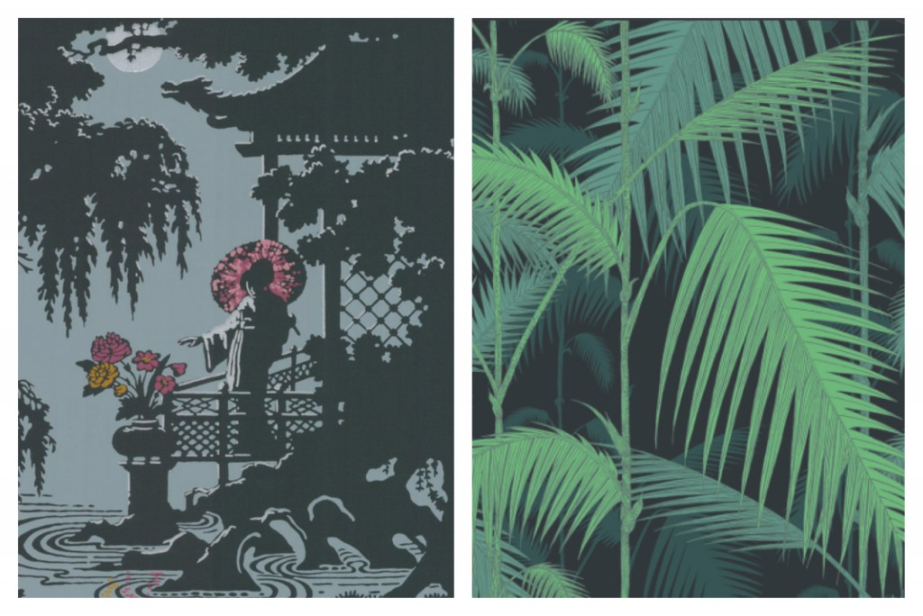 Both Cole & Son Wallpapers. Left: Geisha, Right: Jungle Palm