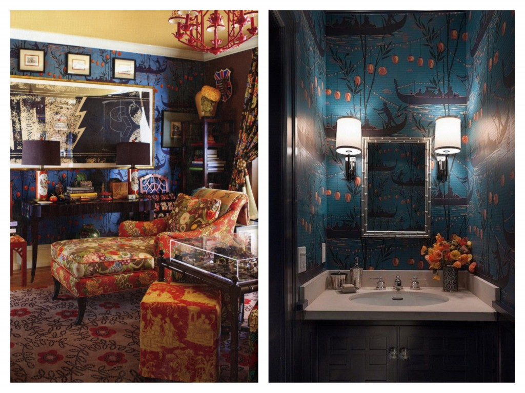 Left: wonderfully eclectic use of Gondola by designers Madcap Cottage Right: Gondola used in a bathroom designed by Ann Lowengart Interiors