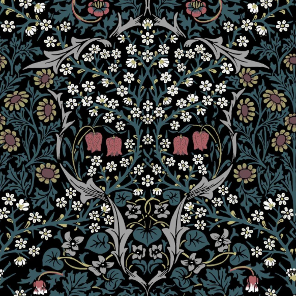 I absolutely love House of Hackney's reimagined Morris & Co design, Blackthorn, with its skull-like facing staring out. This is a serious contender for my living room.