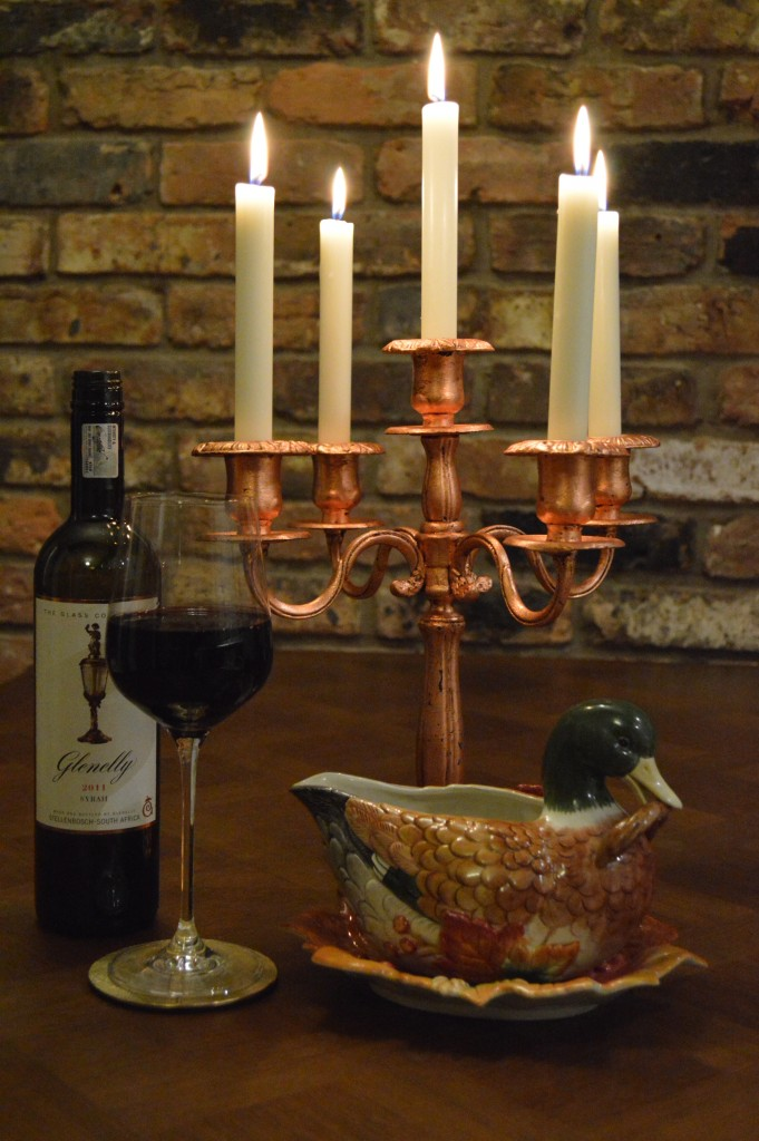 Christmas copper candelabra