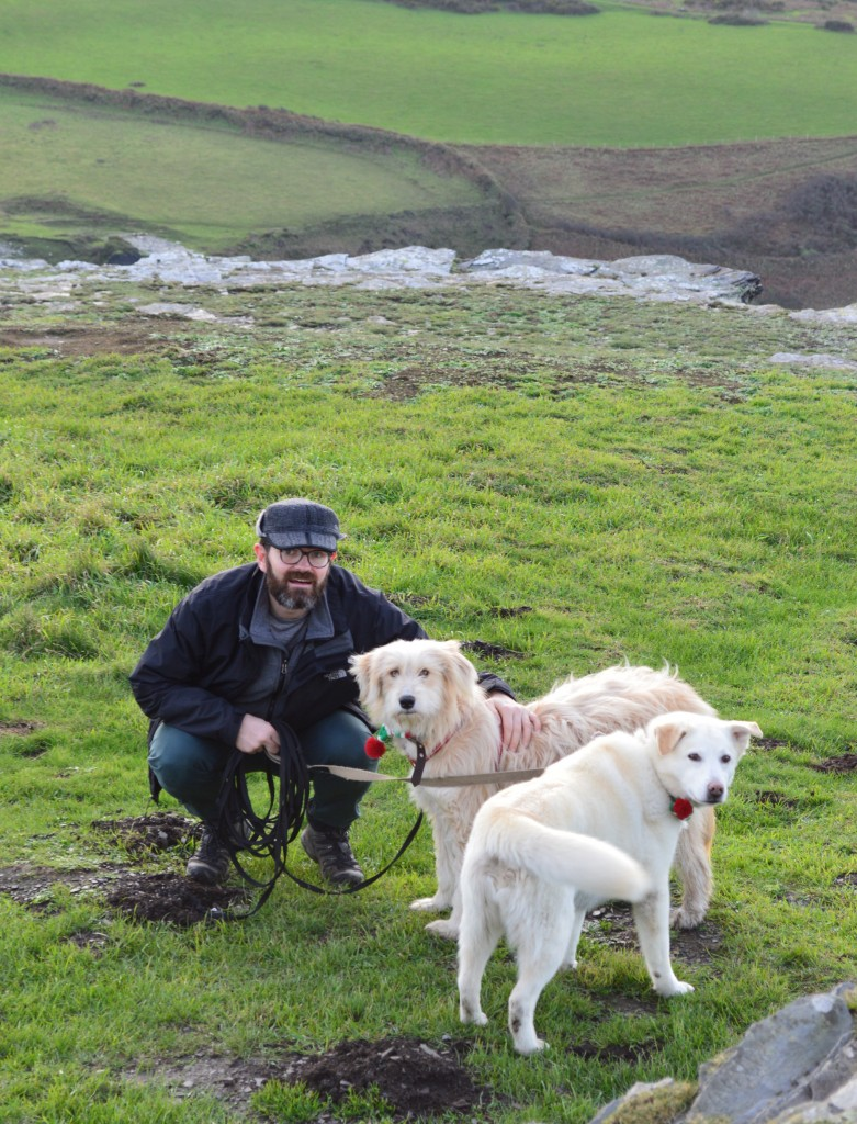 Mabel and Flossie enjoying a brisk walk on the Cornish cliffs with their Dad