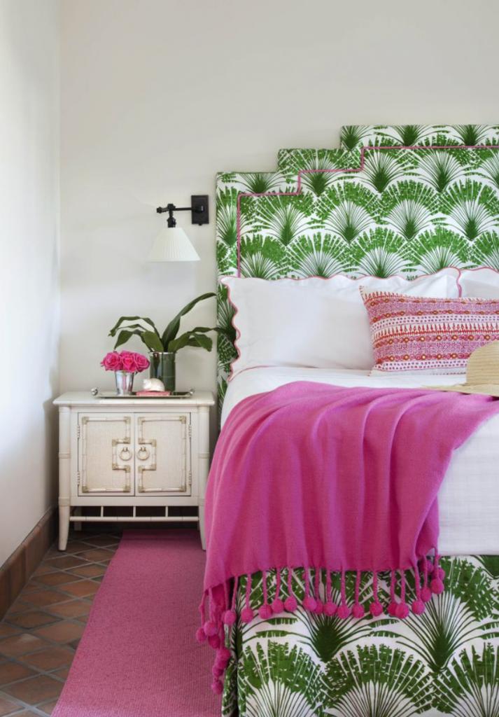 green pink bedroom