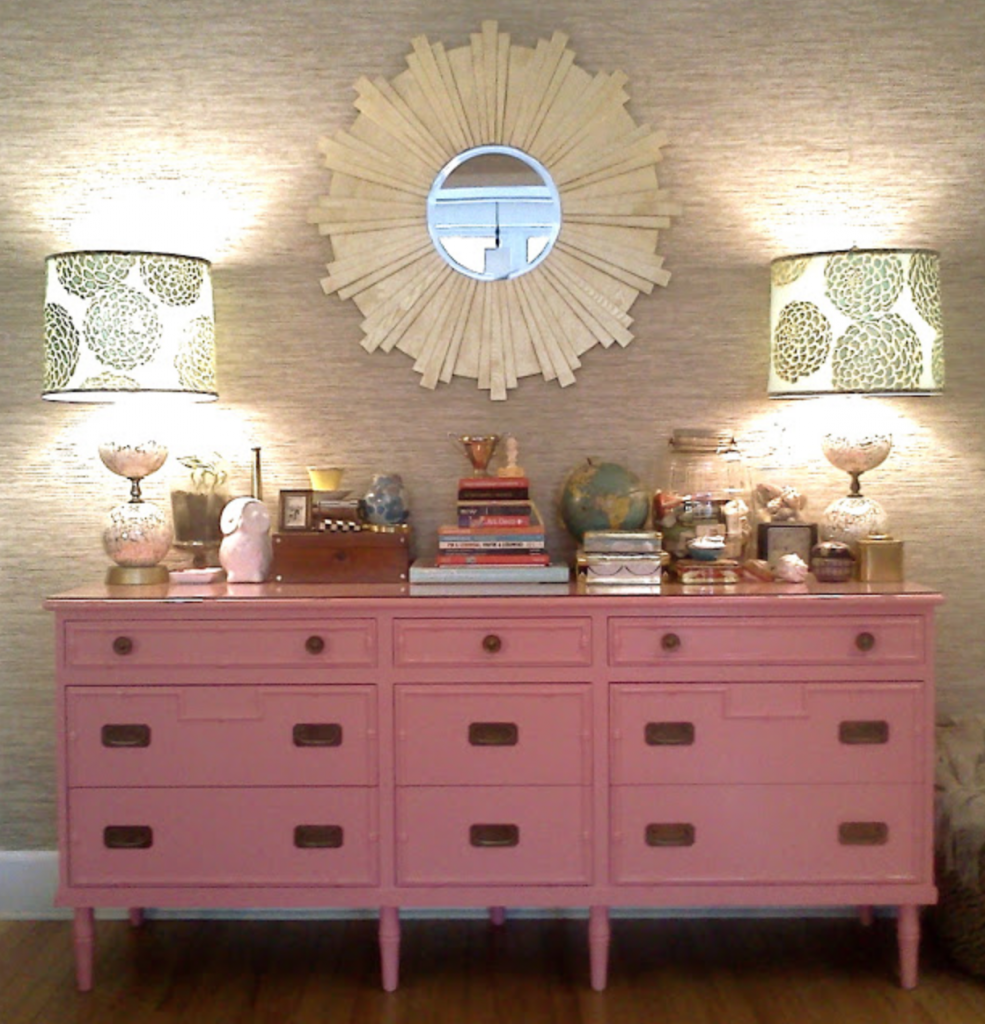 Pink credenza, image via Daily Dose of Kevin