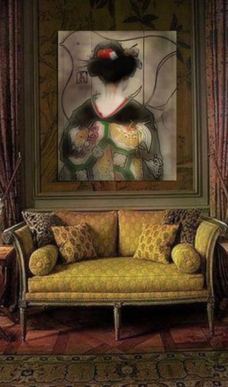 Gold yellow sofa