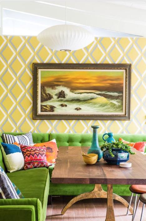 2. geometric yellow wallpapered walls