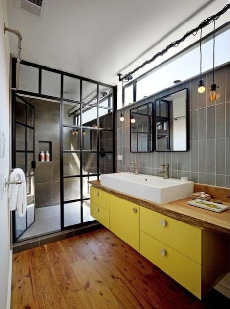 Yellow bathroom cabinet