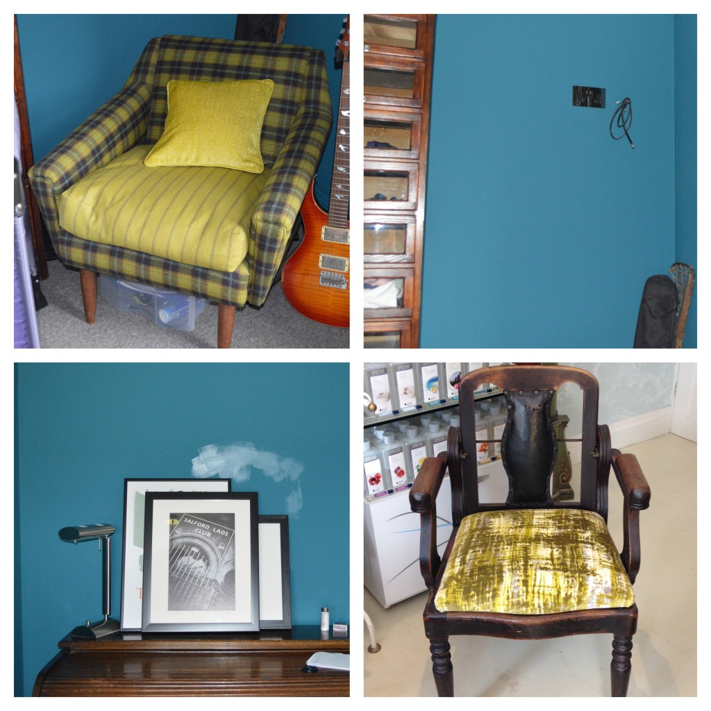 dark blue painted walls and acid yellow upholstery