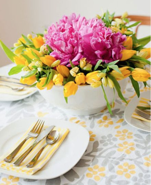 Flower display in a large bowl