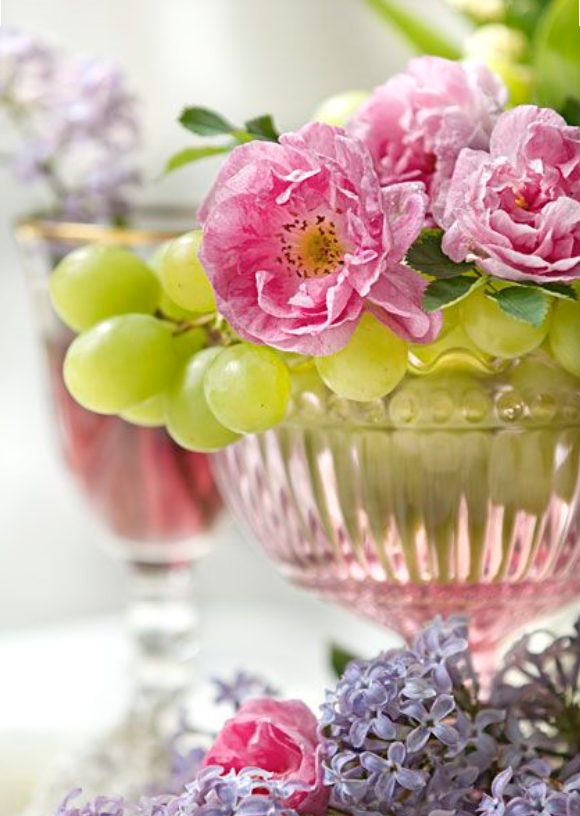Flowers displayed in amongst your grapes