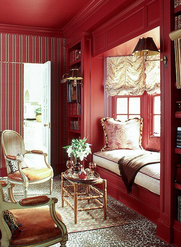 painted red ceiling and walls
