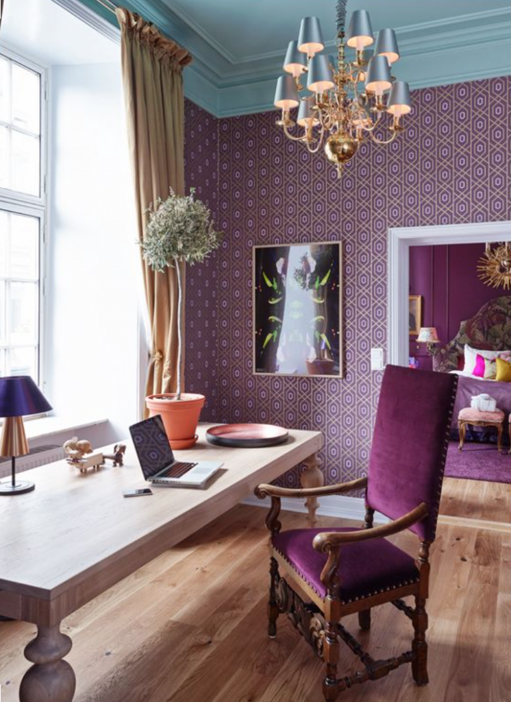 wallpapered office area