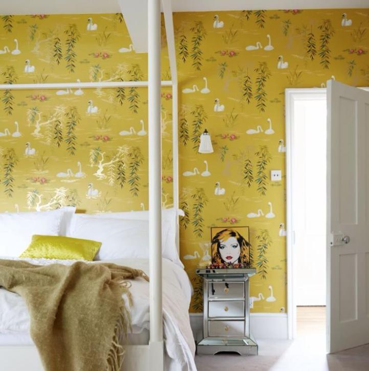 yellow swan lake on walls