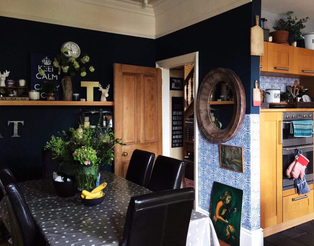 dark blue dining area