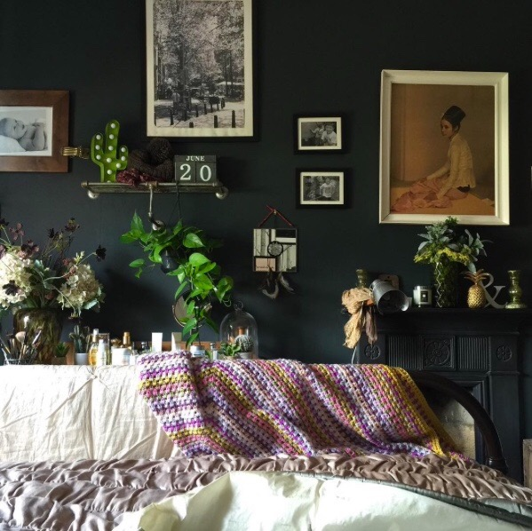 dark bedroom vintage prints crochet bedspread