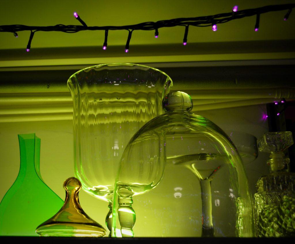 green lit vases
